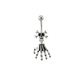 Silver Skull and Skeleton Hand Belly Ring