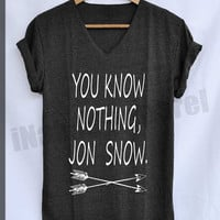 You Know Nothing Jon Snow Shirt Game of Thrones Shirts V-Neck Unisex Freesize