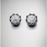 White Opal-Effect Crown Plugs - Spencer's