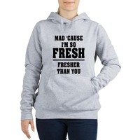 MAD CAUSE IM FRESH Women's Hooded Sweatshirt - BEYONCE 711 VIDEO