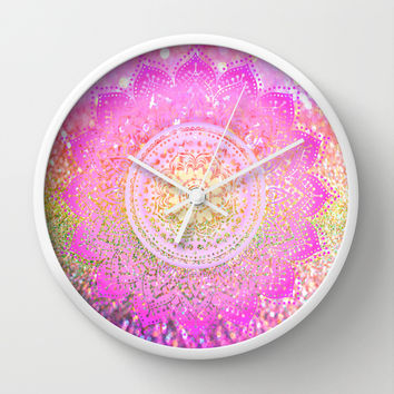 pink mandalas Wall Clock by Haroulita