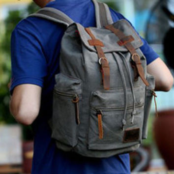 Gray Casual Vintage School Hiking Canvas Backpack Laptop Compartment