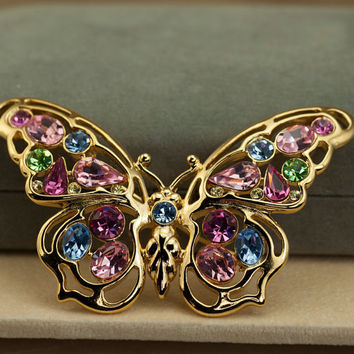 Nolan Miller Jeweled Goldtone Butterfly Brooch