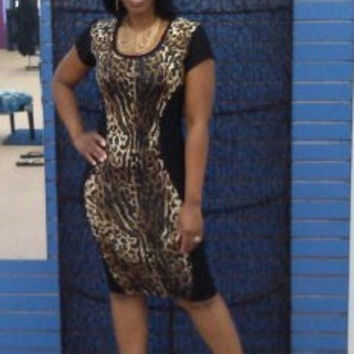 Leopard and Black Bodycon Dress