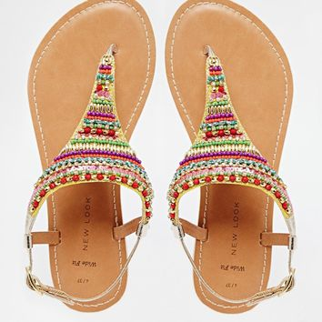 New Look Wide Fit Icy Multi Coloured Bead Flat Sandals