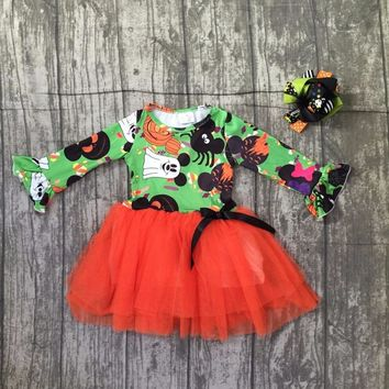 new baby girls Halloween dress children girls ghost with orange chiffon dress baby girl minnie Halloween party dress with bows
