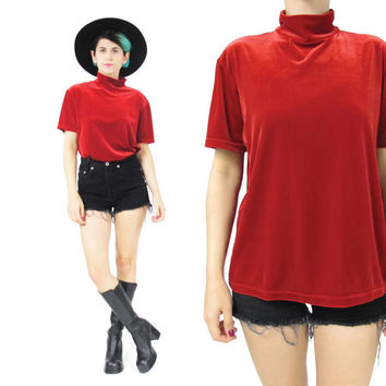 90s Velvet Tshirt Red Turtleneck Top Mock Neck Tshirt Stretch Velvet Tshirt Short Sleeve Top Mock Neck Tshirt Christmas Red Velvet Top (L)