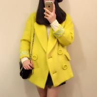 Yellow Long Sleeve Wool Coat
