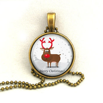 10% SALE - Necklace Merry Christmas Snowy Silhouette Deer Pendant Necklaces Gift
