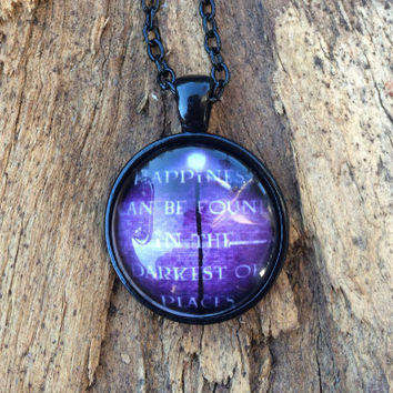 Dumbledore Necklace, Harry Potter Quote Necklace, Darkness can be found in the darkest of places, Inspirational