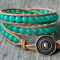 Turquoise triple wrap bracelet. Jade beads on natural leather. Boho beaded leather wrap