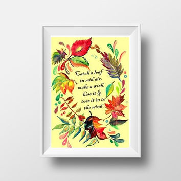 Happy fall sign Printable Wall Art watercolor rustic welcome autumn quote decor literature book, catch a leaf bucket list children gift 5x7