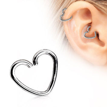 Sterling Silver Daith Tragus Conch Rook Helix Snug Cartilage Heart Piercing Ring Heart Heart Hoop Earring 20G 18G 16G Piercing Jewelry