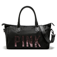 Women's  Handbags VS Secret Black Pink Printed Large Capacity Travel Duffle Waterproof Beach Bag Shoulder Bag Shopping Bag