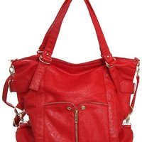 Waverly Bright Red Large Cross-body Convertible Tote