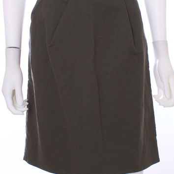 MARNI Pleated Olive Green Cotton Blend Skirt Size 6
