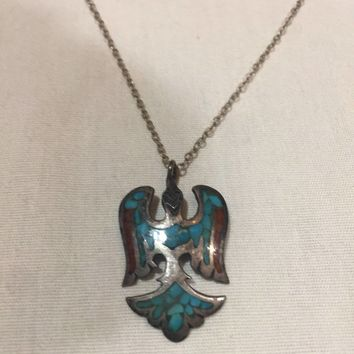 large handmade vintage Native American Southwestern inlay Turquoise Coral Eagle pendant necklace