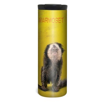 Marmoset Monkey Barista Tumbler Travel Mug - 17 Ounce, Spill Resistant, Stainless Steel & Vacuum Insulated