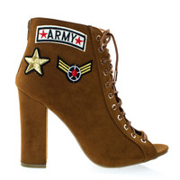 Encounter66S Chestnut By Bamboo, Women Army Patchwork Motifs, Corset Ankle Bootie, High Block Heel