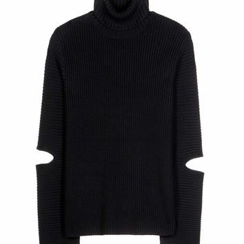 Merino wool and cotton sweater with cut-outs