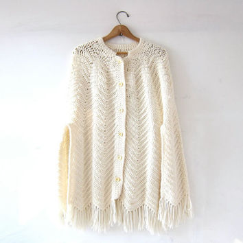 20% OFF SALE Vintage White Crocheted Sweater Cape. Fringed Shawl. Coverup Poncho. Crochet Knit Jacket