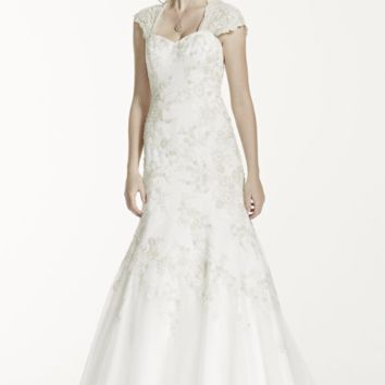 Tulle Over Satin Cap Sleeve Trumpet Wedding Dress - Davids Bridal