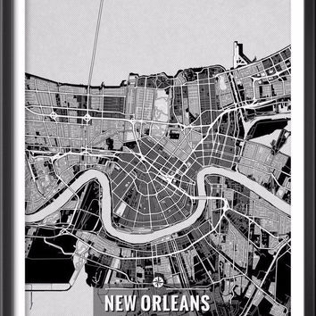 New Orleans Louisiana Map with Coordinates