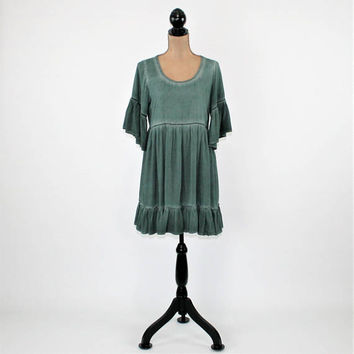 Teal Green Boho Dress Romantic Lace Back Mini Peasant Dress Hippie Clothes Womens Dress Rayon Bell Sleeve Babydoll Loose Fit Womens Clothing
