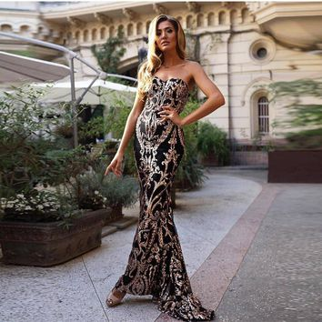 Mermaid Dress Gold Silver Sequined Black Maxi Dresses Strapless Bodycon Elegant Sleeveless Strapless Evening Club Party Dress