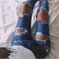 Fashion Edgy Distressed Ripped Holes Pants Trousers Jeans