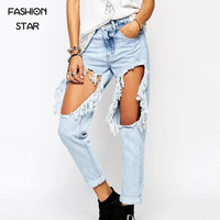 Fashion Star Newest High Street Boyfriend Jeans For Women Brand Female Elegant Middle Waist Holes Latest Washed Jeans For Women