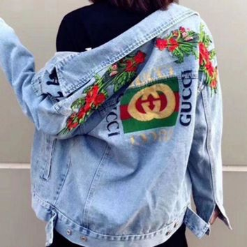 DCCKHQ6 GUCCI Trending Women Men Personality Bee Tiger Embroidery Distressed Denim Cardigan Jacket Coat I