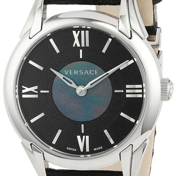 """Versace Women's VFF010013 """"Dafne"""" Stainless Steel Dress Watch with Leather Band"""