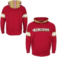 San Francisco 49ers Majestic Helmet Synthetic Pullover Hoodie – Scarlet
