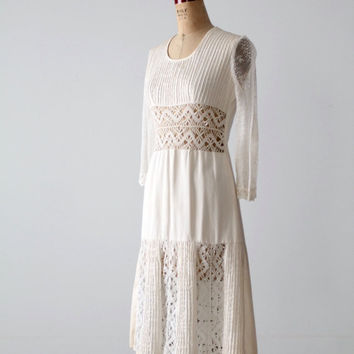 vintage 70s white dress, bohemian lace dress
