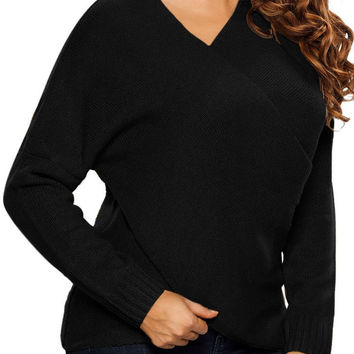 Women Black Long Sleeve Chunky Cross Wrap V Neck Tunic Pullover Sweater