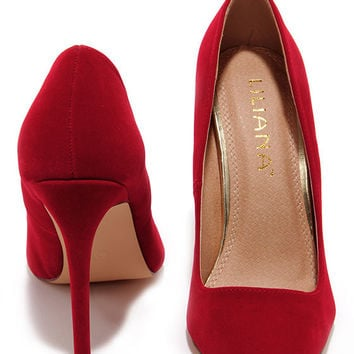 Ladies First Red Suede Pointed Pumps