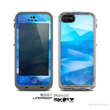 The Blue Abstract Crystal Pattern Skin for the Apple iPhone 5c LifeProof Case