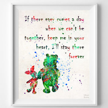 Winnie The Pooh Quote, Pooh and Piglet, Pooh Print, Disney Poster, Room Art, Nursery Wall Art, Street Art, Baby Room Decor, Christmas Gift