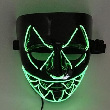New El Wire Light Up LED V Mask for Vendetta Anonymous Guy Fawkes Costume Cosplay Halloween Mask