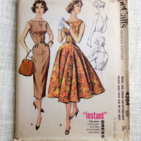 Vintage Pattern McCall's 4364 1950s 1960s Rockabilly prom dress new look full skirt Bust 34 Formal Low Back Wiggle dress Full Skirt Cutout