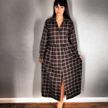 Vintage Flannel Plaid Maxi Dress - Eddie Bauer - Size Medium