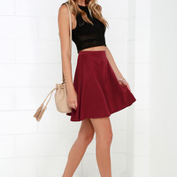 Swing Into High Gear Wine Red Skater Skirt