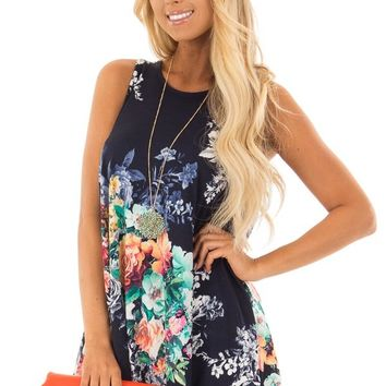 Space Blue Floral Print Tank Top with Cutout Back