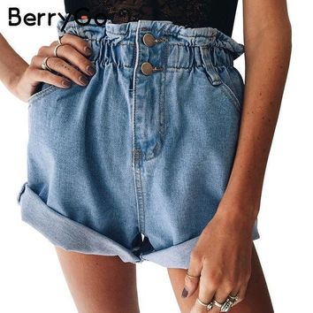ESBONV BerryGo Casual blue hemming denim shorts Women button summer beach black jeans shorts Female 2017 pocket high waist shorts
