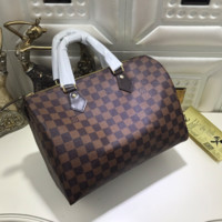LV Fashion Women Print Shopping Leather Multicolor Tote Handbag Shoulder Bag Coffee Tartan G