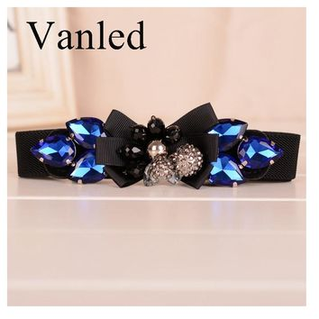 Vanled Blue Elastic Women Belt  Rhinestones Stretch Braided Waist Ladies Belt Leather Steel Snaps Femme Ceinture
