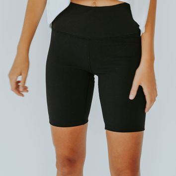 Ribbed Biker Shorts (Black)