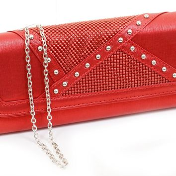 Red Satin Vegan Stud Detailed Womens Fashion Clutch Purse w/Strap