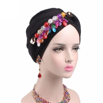 Fashion Bohemia Style Hats Women Boho Scarf Cancer Chemo Hat Beanie Scarf Turban Head Wrap Solid Cap